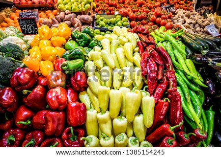 Assortment of fresh fruits and vegetables #1385154245