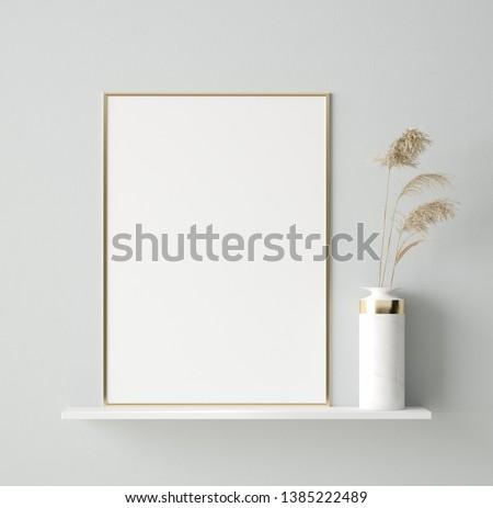 Mock up poster in interior background, Scandinavian style, 3D render #1385222489