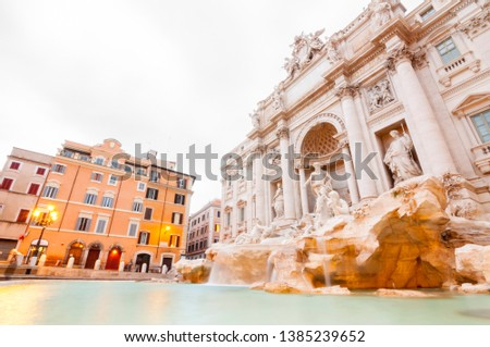 The famous Trevi Fountain or Fontana di Trevi at Piazza Trevi, Rome. Built in 1762, designed by Nicola Salvi. #1385239652