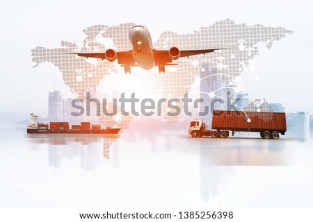 Transportation, import-export and logistics concept, container truck, ship in port and freight cargo plane in transport and import-export commercial logistic, shipping business industry #1385256398