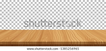 vector wood table top on transparent background.realistic wooden table, 3d. Element for your design, advertising.vector illustration. Royalty-Free Stock Photo #1385256965