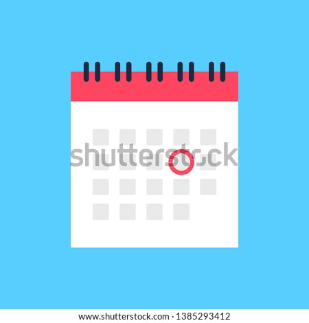 Calendar icon and red circle. Mark the date, holiday, important day concepts. Flat style design. Vector icon Royalty-Free Stock Photo #1385293412
