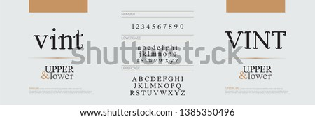 Elegant alphabet letters fonts set. Exclusive letters corporate identity. Typography classic font and numbers. vector illustration #1385350496