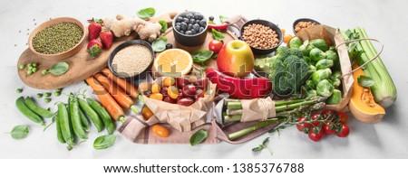 Healthy vegan food.  Vegetarian food cooking ingredients. Clean diet eating. Panorama, banner #1385376788