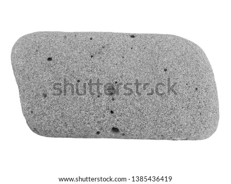Pebble stone grey frame isolated on white background. Rough stone texture of quad big river or sea pebble isoleted top view above. One garden heavy cobble pebble gray boulder stone isolated copy space #1385436419