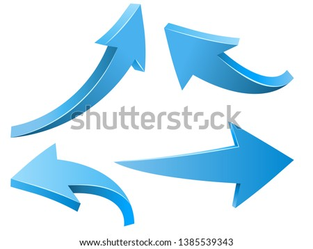Abstract Curved Blue Arrows Vector Set Isolated on White Background. 3D Arrow Shapes Collection.