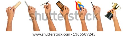 Hand holding school equipments plastic set square, pencil, wooden ruler, triangular ruler scale, abacus, golden trophy and calipers compasses for education concept. #1385589245