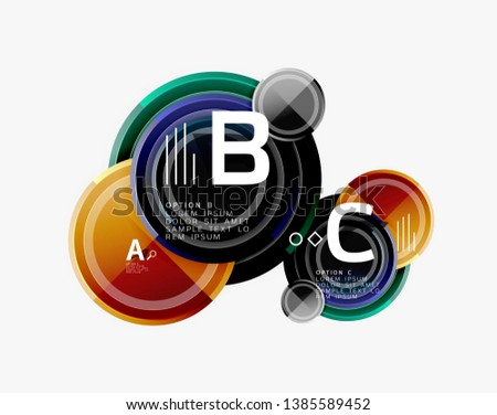 Abstract round geometric shapes, modern circles background. Vector illustration #1385589452