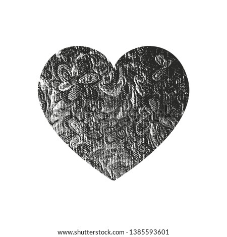 Isolated distress grunge heart with floral ornament texture. Element for greeting card, Valentine s Day, wedding. Creative concept. Vector illustration #1385593601