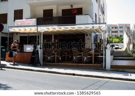 Santa Posa, Mallorca, Spain - April 04. 2011: View outside of Cafe Katzenberger which is meanwhile closed #1385629565