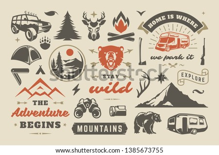 Summer camping and outdoor adventures design elements set, quotes and icons vector illustration. Mountains, wild animals and other. Good for t-shirts, mugs, greeting cards, photo overlays and posters Royalty-Free Stock Photo #1385673755