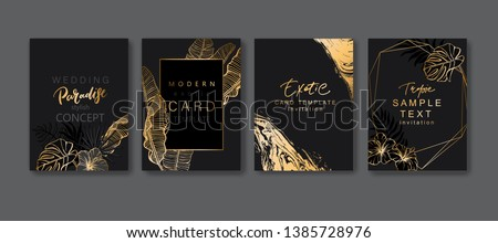 Set of elegant brochure, card, background, cover. Black and golden marble texture. Geometric frame. Palm, exotic leaves. Save the date, invitation, birthday card design. #1385728976
