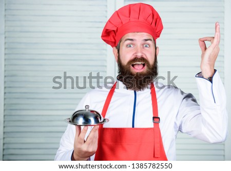 serve food. Cuisine culinary. man holds kitchen dish tray in restaurant. Healthy food cooking. Mature hipster with beard. Dieting organic food. Happy bearded man. chef recipe. Best best best. #1385782550