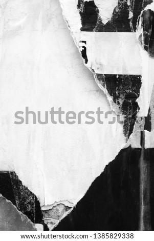Blank white creased crumpled paper texture background old grunge ripped torn vintage collage posters placards empty space text Royalty-Free Stock Photo #1385829338