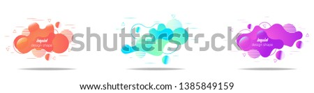 Set of modern abstract vector banners. fluid shapes of different colors with bright outline in modern design style. Template ready for use in web or print design. #1385849159