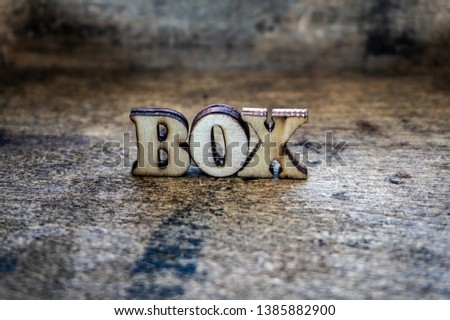 Box, wooden color letters, text on the board. Volumetric letters. #1385882900