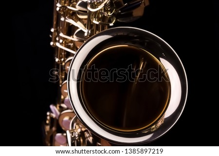 Music Instrument Alto Saxophone on black, Saxophone, brass Saxophone, Gold Saxophone, Sax brass Sax, Gold Sax. Music instrument copy Space, Music instrument mock up. Sax mock up, Music background #1385897219