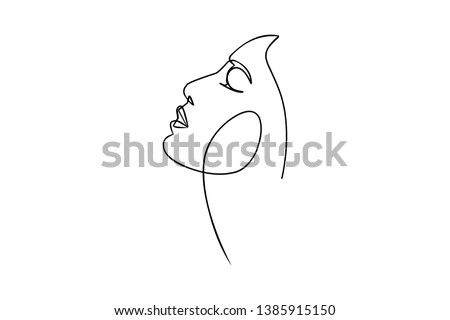Continuous line, drawing of set faces and hairstyle, fashion concept, woman beauty minimalist, vector illustration pretty sexy. for t-shirt, slogan design print graphics style