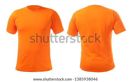 Orange t-shirt mock up, front and back view, isolated. Plain orange shirt mockup. Tshirt design template. Blank tee for print #1385938046