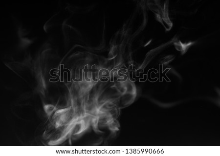white smoke overlay effect on solid super black background. Nature motion smoky steam wave abstract environment pollution, cloud, cigarette, gas, dry ice, chemistry, factory and ghost concept #1385990666