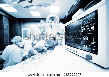 a group of surgeons operate on the patient's vital functions monitor close-up. #1385997107