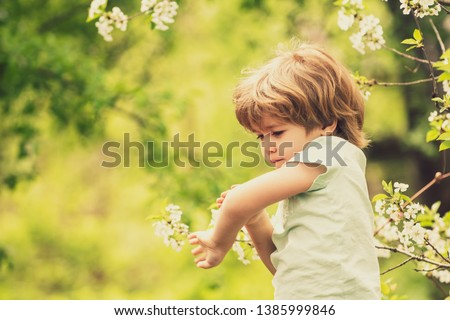Mosquito bite. Wound. A bite of an insect. Spring in the forest. Child on the background of nature. Scratch. Safe walk in nature. Spray against mosquitoes and insects. Royalty-Free Stock Photo #1385999846