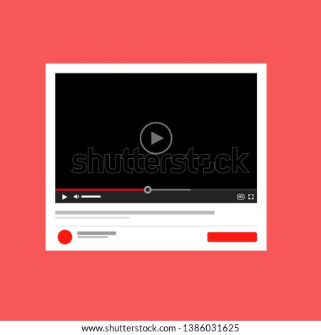 Modern video player design template for web and mobile apps flat style #1386031625
