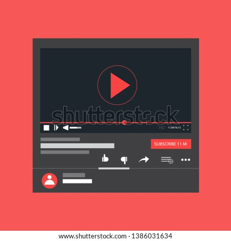 Modern video player design template for web and mobile apps flat style #1386031634