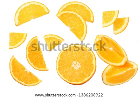 orange with slices isolated on white background. healthy food. top view #1386208922