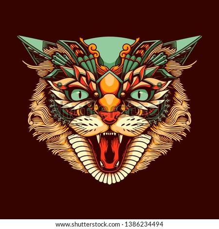 ethnic cat head illustration and tshirt design
