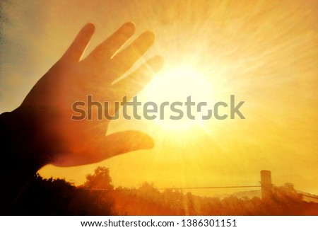 Sunlight from the sun is very hot. Royalty-Free Stock Photo #1386301151