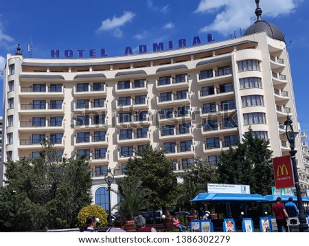 Golden Sands, Bulgaria - May 1st, 2019: Hotel Admiral exterior in daylight, refined hotel in the Golden Sands resort area across the street from the beach #1386302279