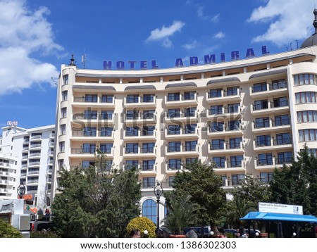 Golden Sands, Bulgaria - May 1st, 2019: Hotel Admiral exterior in daylight, refined hotel in the Golden Sands resort area across the street from the beach #1386302303