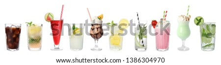Set of different delicious cocktails on white background #1386304970