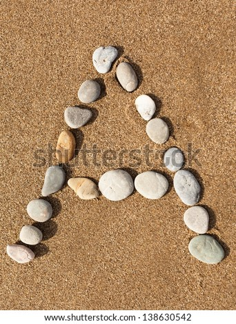 English letters, numbers alphabet stones laid out on the sand