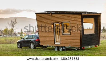 Mobile tiny house. Great for outdoor experiences and wildlife. Lots of mobility and pure adventure. No need for special authorizations, only a decent car to pull this tiny house and off you go. #1386351683