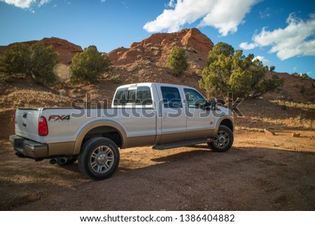 Kodachrome Basin State Park, UT, USA - March 25, 2018: The F350 Ford parked along the preserve park #1386404882