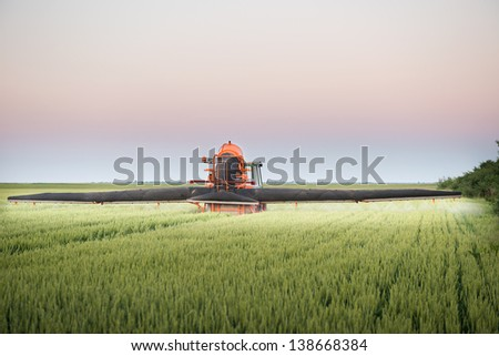 Tractor spraying wheat in the spring #138668384