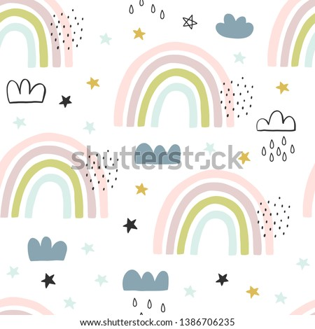 Seamless cute pattern for kids, children. Rainbow, clouds, moon, stars background. Scandinavian style for fabric, wallpaper, clothes, swaddles, apparel, planner, sticker #1386706235