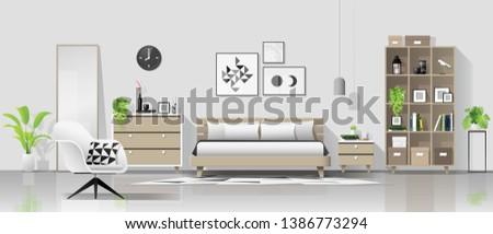 Interior background with modern cozy bedroom , vector , illustration #1386773294