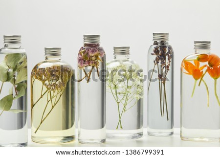 different organic beauty products in transparent bottles with herbs and flowers isolated on grey  #1386799391