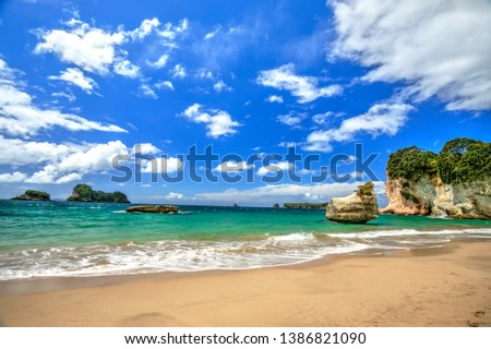 Cathedral cove beach in New Zealand  #1386821090