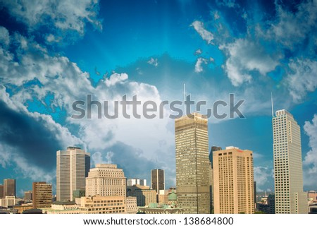 Montreal skyline with beautiful sky colors - Canada.
