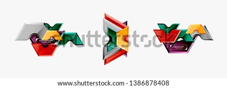 Geometric banner made of glossy geometric shapes, for background or abstract logo element. Vector template #1386878408
