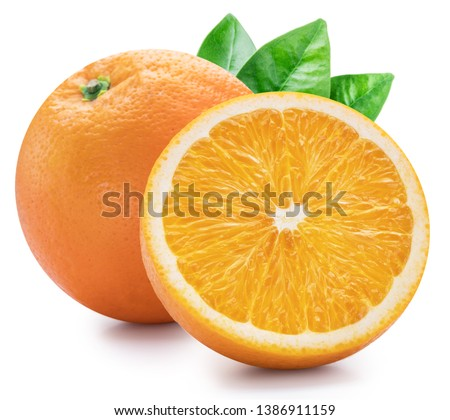 Orange fruits with orange leaves on white background. File contains clipping path. #1386911159