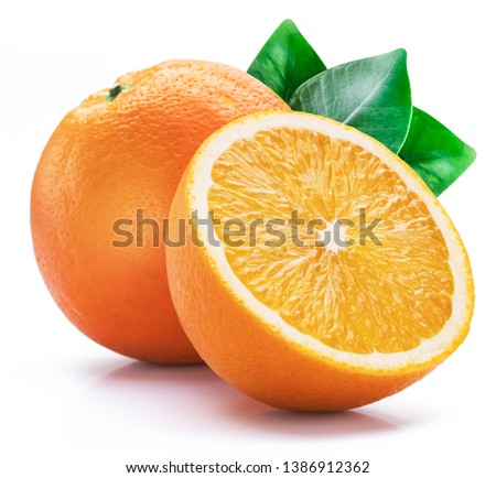 Orange fruit with orange slices and leaves isolated on white background. #1386912362
