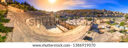 View of the Roman Theater and the city of Amman, Jordan #1386919070