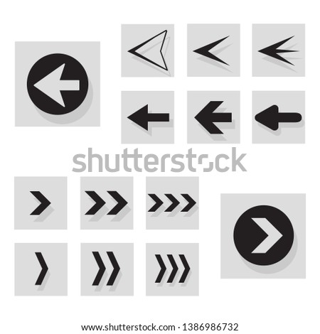 Arrow back and right icon set isolated on white background. Trendy collection of different arrow icons in flat style for web site, app and ui. Black arrows right and left template. Vector illustration #1386986732
