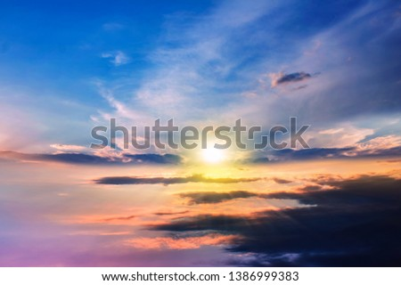 Paradise heaven . Dramatic nature background . background sky at sunset and dawn . #1386999383