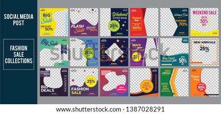 fashion sale social media post design template Bundle Premium Vector #1387028291
